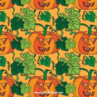 Abóboras de halloween e folhas padrão