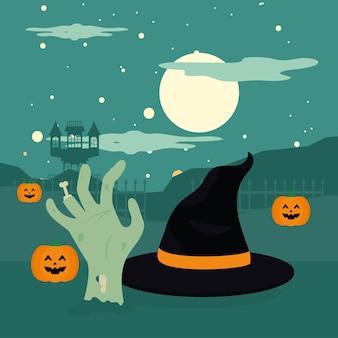 Abóboras de halloween e mão de zumbi