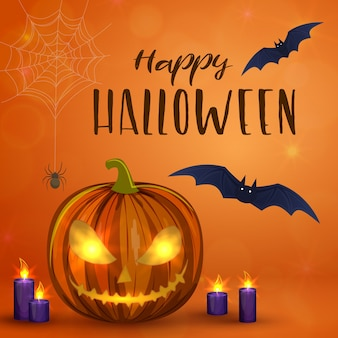 Abóboras de halloween esculpidas, ilustração colorida de halloween assustadora.