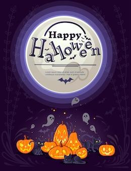 Abóboras de halloween felizes com abóbora assustadora de desenho animal de desenhos animados de gatos pretos enfrenta ilustração vetorial plana em fundo escuro com fantasmas bonitos e banner vertical de lua branca.