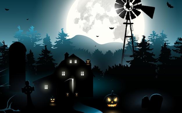 Abóboras de halloween. fundo de dia das bruxas na floresta à noite com lua