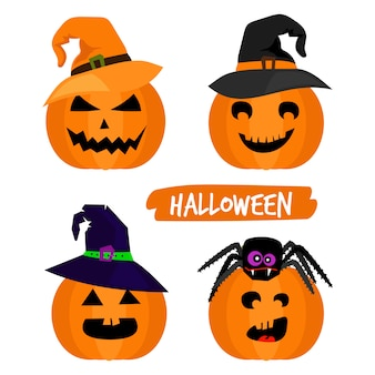 Abóboras de halloween isoladas no branco