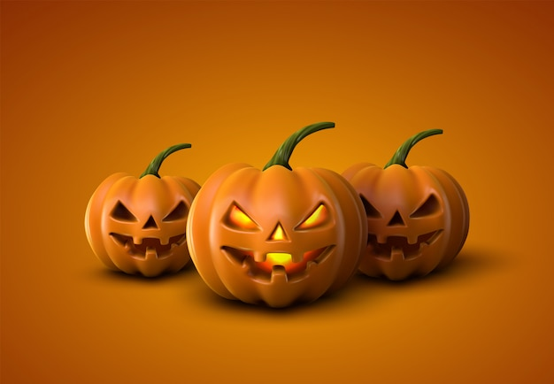 Abóboras de halloween. jack lanterns. ilustração de abóbora realista