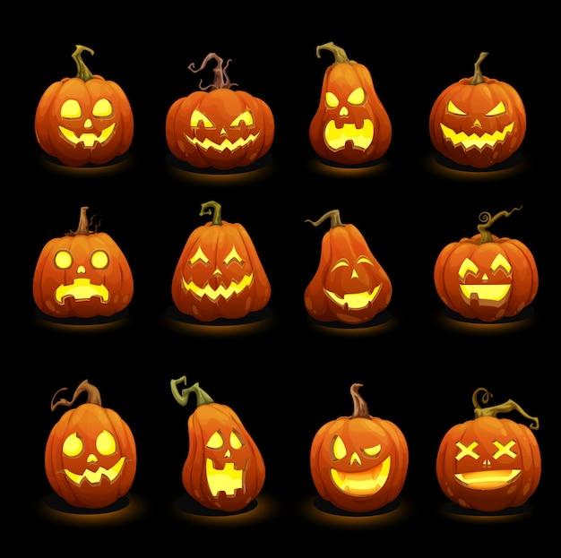 Abóboras de halloween rostos brilhando na escuridão