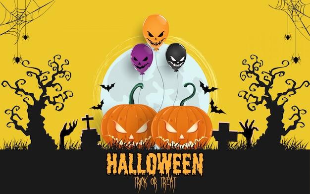 Abóboras de halloween sob o fundo do luar