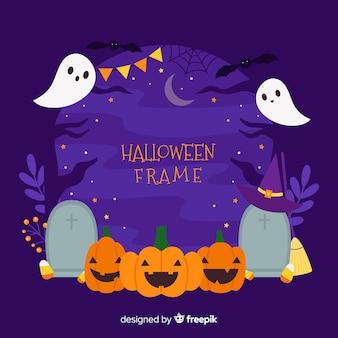 Abóboras e fantasmas com moldura de decoração de halloween