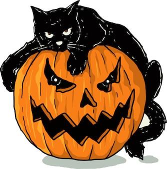 Abóboras e gato preto
