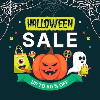Abóboras e teias de aranha design plano venda de halloween