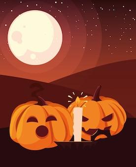 Abóboras e vela feliz dia das bruxas celebração