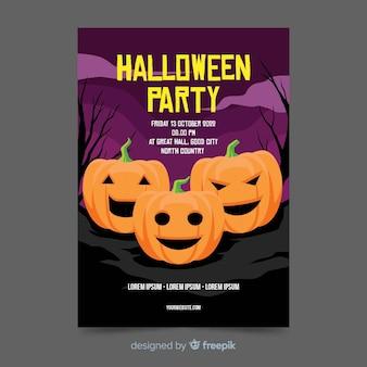 Abóboras em um panfleto de halloween plana de cemitério