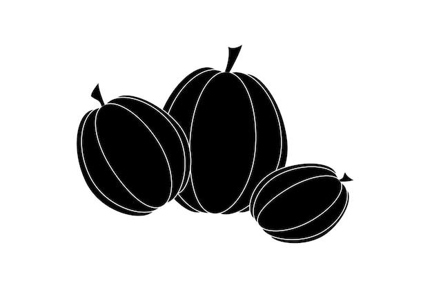 Abóboras pretas sobre fundo branco, símbolo do dia das bruxas, vetor