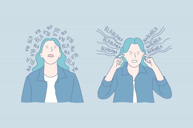 Aborrecimento de ruído, irritação, ilustração de emoções negativas