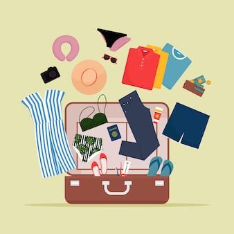 Abra a bagagem com roupas e objetos de viagem. ilustração em estilo simples