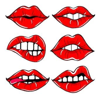 Abra a boca feminina com lábios vermelhos. conjunto de lábios de mulheres isolado