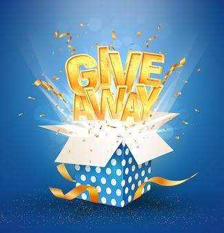 Abra a caixa azul texturizada com palavra dourada de doação. celebração vencedora.