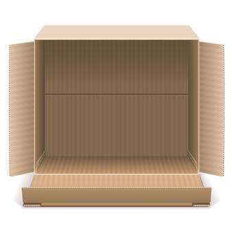 Abra a caixa de papelão isolada no fundo branco