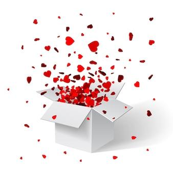 Abra a caixa de presente branca e confetes. fundo de natal. ilustração.