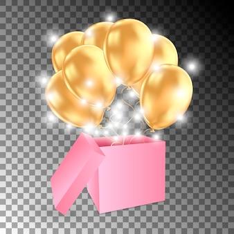 Abra a caixa de presente com balões de ouro e luzes