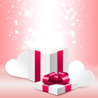 Abra a caixa de presente com brilho