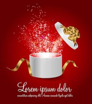 Abra a caixa de presente com fita e luz mágica do vetor de fogos de artifício illus