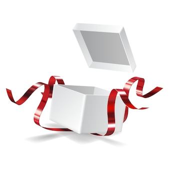 Abra a caixa de presente com laço vermelho isolado no branco