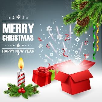 Abra a caixa de presente com luz brilhante e confete