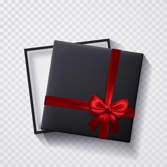 Abra a caixa de presente preta vazia com laço e fita vermelhos
