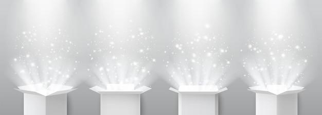 Abra a caixa de presente surpresa com luz mágica e holofotes iluminados de cima.