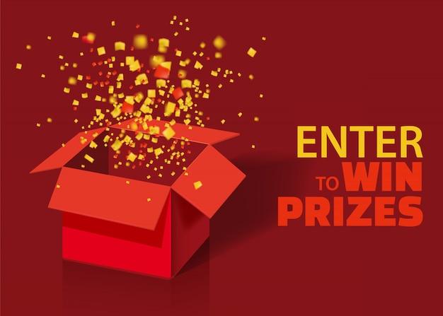Abra a caixa de presente vermelha e confetes com partículas coloridas.