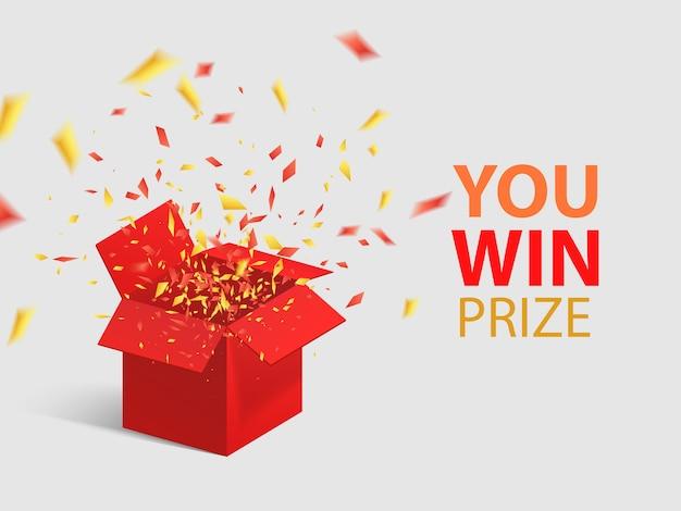 Abra a caixa de presente vermelha e confetes.
