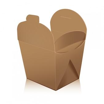 Abra a caixa de wok em branco. a caixa leva o saco de papel para alimentos.