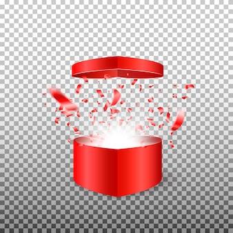 Abra a caixa surpresa presente em forma de um coração. símbolo do amor no dia dos namorados. ilustração em fundo transparente