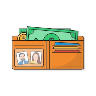 Abra a carteira com dinheiro isolado no branco