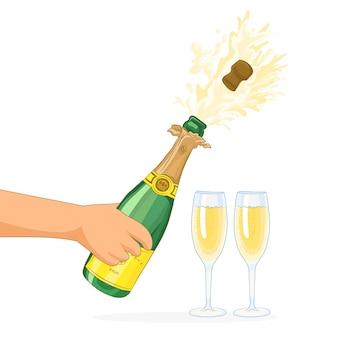 Abra a garrafa de champanhe e copos