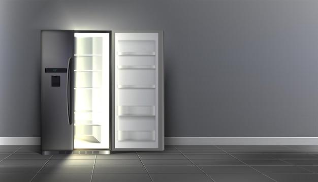 Abra a geladeira vazia com prateleiras no quarto