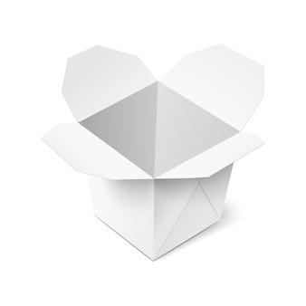 Abra a ilustração realística da caixa de comida branca para viagem vazia vazia isolada