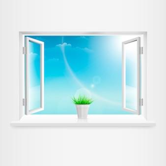 Abra a janela branca com vaso de flores