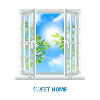 Abra a janela branca no dia ensolarado