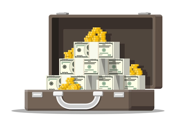 Abra a mala de couro cheia de dinheiro. pilhas de notas de dólar e moedas de ouro no caso.