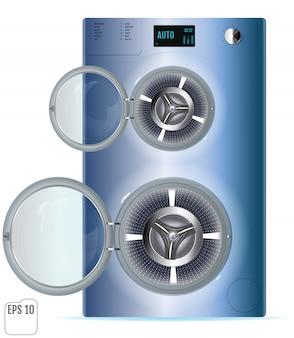 Abra a máquina de lavar roupa dupla