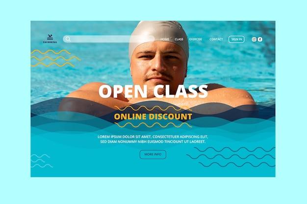 Abra a página de destino das aulas de natação