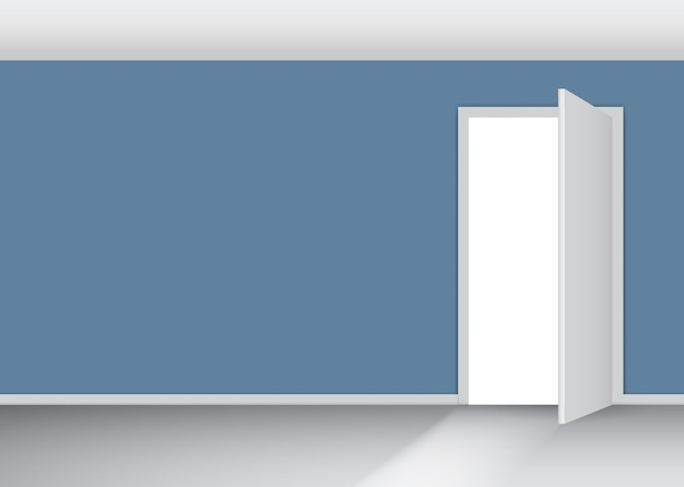 Abra a porta branca em uma parede azul