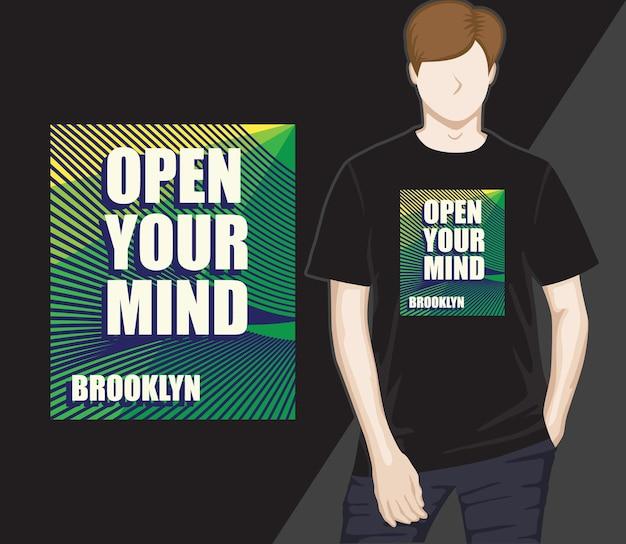 Abra a sua mente, tipografia, design de t-shirt