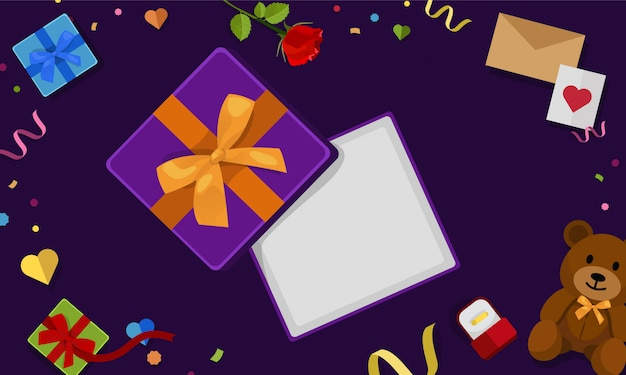 Abra a vista superior da caixa de presente