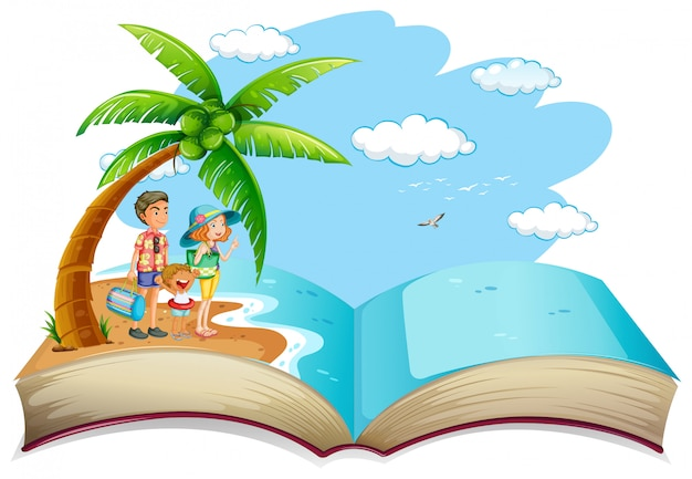Abra as férias de verão da família do livro
