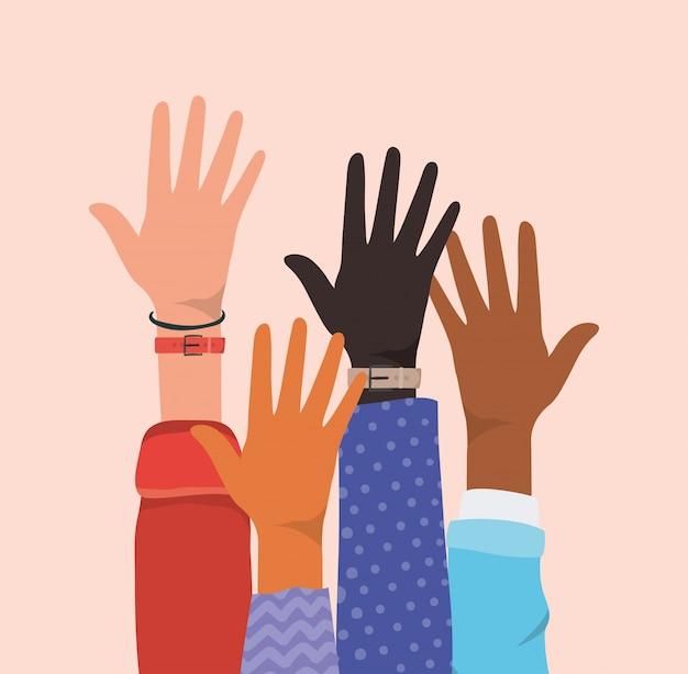 Abra as mãos para diferentes tipos de design de skins, diversidade de pessoas, raça multiétnica e tema comunitário