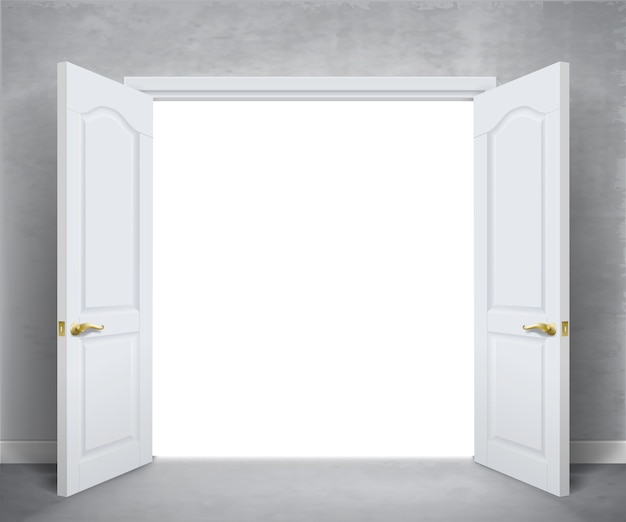Abra as portas duplas brancas. parede branca