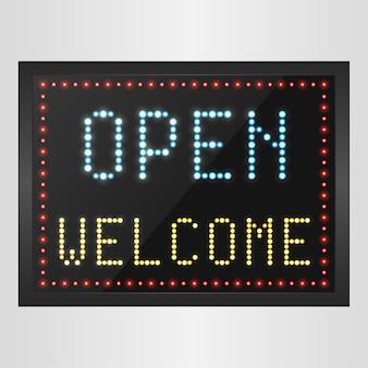 Abra bem-vindo fundo de sinal de painel de led
