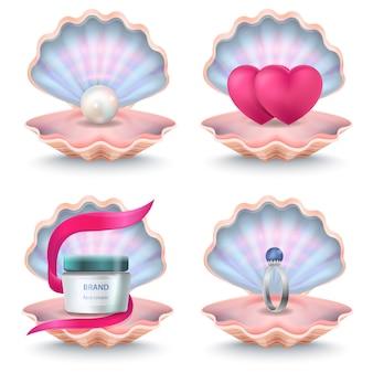 Abra conchas rosadas com garrafa de creme de rosto, dois corações rosa, anel de casamento com pedra e pérola dentro. conchas do mar de vetor
