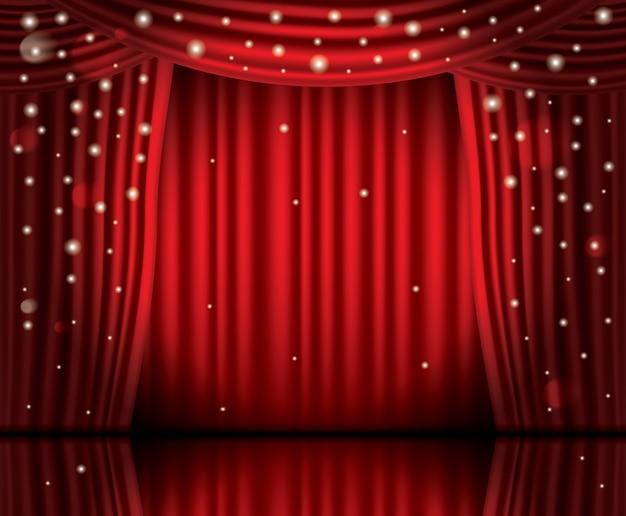 Abra cortinas vermelhas com luzes de néon e espaço de cópia.